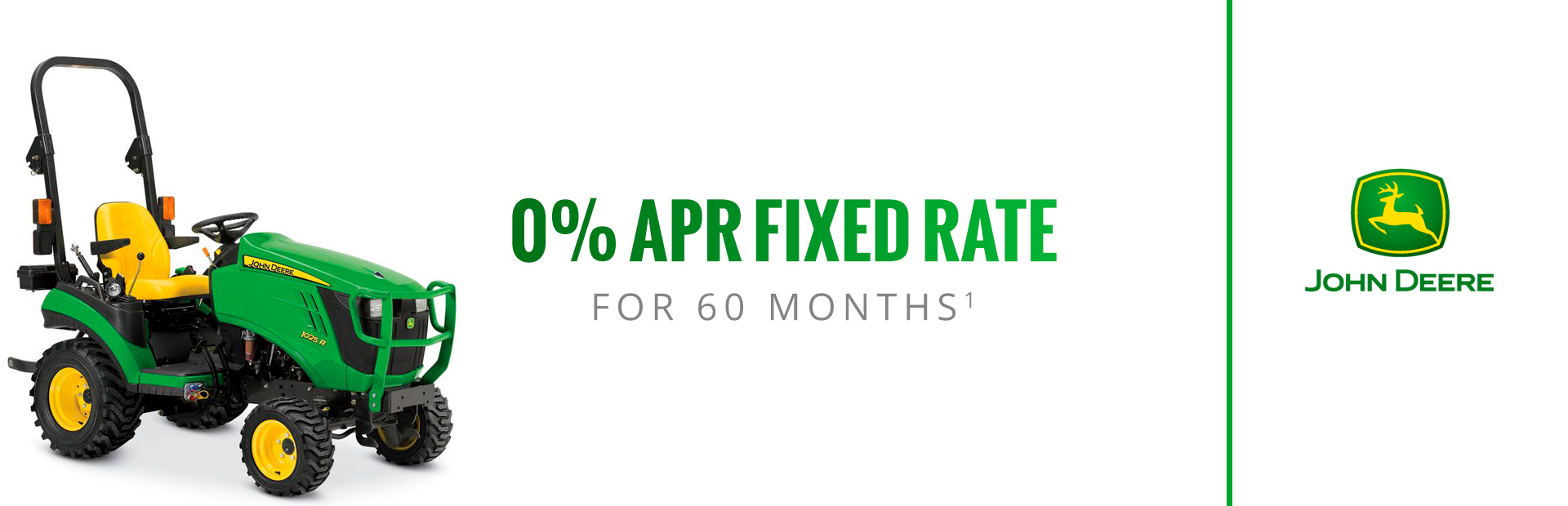 John Deere: 0% APR fixed rate for 60 Months